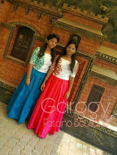 Full Skirt And Top, Indian Skirt And Top, Dress Indian Style, Indian Outfits, Kids Party Wear Dresses, Dresses For Teens, Lehenga Designs, Saree Blouse Designs, Dress Muslim Modern