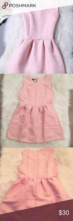 Pink Classic Sleeveless Jacquard Mini Dress Beautiful A-Line Baby Pink Dress • Never Worn • Tag says Large but fits like Medium • High Quality Embellished Material • BEST FOR THOSE 5'5 AND UNDER • Great for short girls! Lulu's Dresses Mini