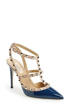 Valentino 'Rockstud' T-Strap Pump available at #Nordstrom OH GREAT NOW IT COMES IN NAVY