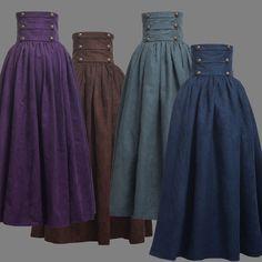 Victorian High Waist Ruffle Skirt Steampunk Walking Skirt As description showed