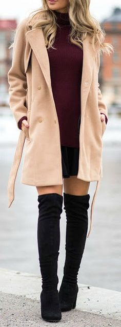 Black OTK boot + tan coat.