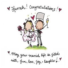 Juicy Lucy Designs Greeting Card - Hurrah! Congratulations! May your married life be filled with fun, love, joy and laughter! - Stationery Heaven - http://www.stationeryheaven.nl/postcards/ansichtkaarten/juicylucydesigns