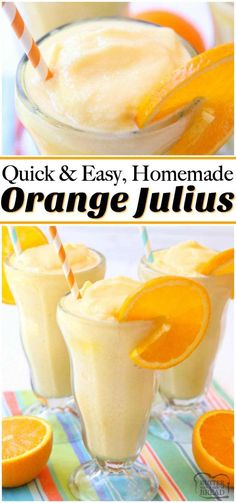 Orange Julius recipe made EASY! Just 5 ingredients & 5 minutes to enjoy a refreshing, sweet, citrusy frozen beverage at home. Perfect orange flavor and simple instructions with video that show how to make an Orange Julius. from BUTTER WITH A SIDE OF BREAD Apple Smoothies, Healthy Smoothies, Healthy Drinks, Healthy Detox, Smoothie Drinks, Smoothie Recipes, Yummy Drinks, Yummy Food, Tasty