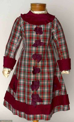 1850-1890 1-piece tartan plaid dress, pleated wine silk trim, starched white under-sleeves, thread wrapped back buttons, and glazed cotton lining