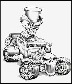 Bone Rod pencil by Tetzlaff on DeviantArt Skull Tattoo Design, Skull Tattoos, Car Tattoos, Loup Tex Avery, Tattoo Drawings, Art Drawings, Dibujos Pin Up, Cool Car Drawings, Cars Coloring Pages