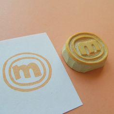 Personalized: Your Circled Monogram (Any Letter) - Hand Carved Stamp
