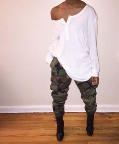 White shirt w/ camouflage pants