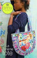 La Boheme Tote by Amy Butler. La Boheme is a fabulous tote and provides you with lots of options for embellishments. Distributed by Brewer Sewing. Modern Sewing Patterns, Bag Patterns To Sew, Tote Pattern, Fabric Patterns, Handbag Patterns, Amy Butler, Basket Quilt, Sewing Leather, Marianne Design