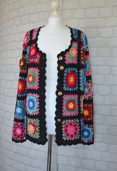 Fashion Cardigans Multicolor Crocheted jacket Bohemian clothes Boho Hippie Jacket Grenny square Summer crocheted jacket Size M Ready to ship - Bohemian Life Style Crochet Jacket Pattern, Crochet Coat, Knitted Coat, Crochet Cardigan, Crochet Shawl, Crochet Clothes, Hand Crochet, Crochet Patterns, Granny Square Häkelanleitung