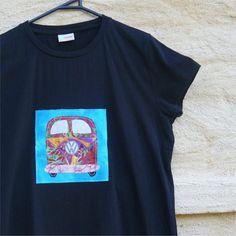 Tshirt womens kombi VW slim fit black applique medium by BoosTees, $18.00