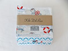 Nautical Baby Shower Gift Set  Bib Burp Cloth and by kikidelrico, $32.00