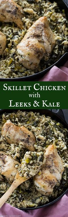 Delicious Skillet Chicken and Rice with Leeks and Kale is an easy dinner option. Have a complete meal on the table within 30 minutes! #ad @unclebensrice