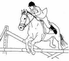 Horse jumping over a wall coloring pages for grown ups | Animal ...