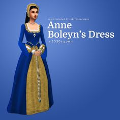 "linzlu: ""Commission 02 : Anne Boleyn's DressThank you to for your commission! The Tudor era was my original love that got me interested in historical costumes and sims custom content. Sims Medieval, Tudor Dress, Sims 4 Dresses, Sims4 Clothes, Play Sims, Sims 4 Mm Cc, Tudor Era, The Sims 4 Download, Sims 4 Clothing"