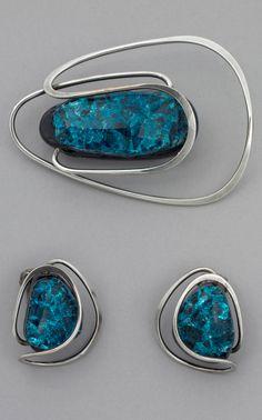 Earrings Brooch | Elsa Freund. Silver and ceramic | 1960 - 19603