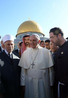 During his visit to Jerusalem, a city holy to three major religions, Pope Francis met with Jewish and Muslim religious leaders - Chief Rabbis of Israel and the Grand Mufti of Jerusalem. https://www.facebook.com/IsraelMFA