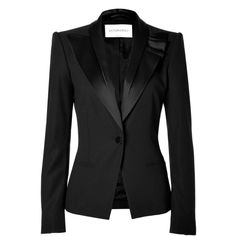 VIKTOR & ROLF Black Blazer With Ruffled Satin Lapel ($1,110) ❤ liked on Polyvore featuring outerwear, jackets, blazers, casacos, coats, tailored blazer, long sleeve jacket, tailored jacket, blazer jacket and long sleeve blazer