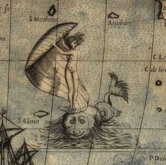 Nothing puts a smile on a sea monster's face like a naked lady in a seashell. The lady here represents Bold Fortune, and she appears in a map made in 1565 by Paolo Forlani. (Library of Congress)