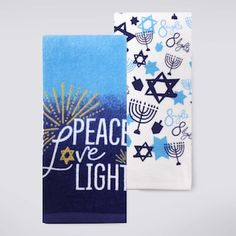 Bring seasonal elegance to your kitchen with this Celebrate Hanukkah Together kitchen towel set. Hanukkah Crafts, Hanukkah Candles, Hanukkah Decorations, Christmas Crafts For Gifts, Craft Gifts, Happy Hannukah, How To Celebrate Hanukkah, Chalkboard Art, Diy Signs