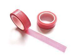 Washi Tape  Red Stripes Washi Tape  Japanese by pinkdotsetc