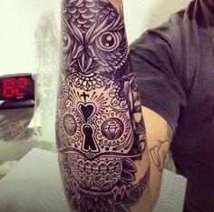 Owl Skull Tattoo Forearm
