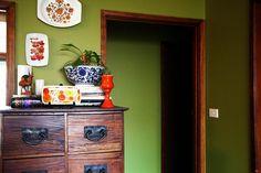 green w/ dark wood trim