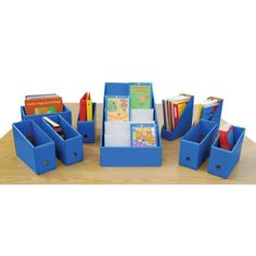 Calloway House Library Collection - Nine-piece set includes a Mini Tabletop Library to display covers of books, Sort & Store Book Caddies to sort student readers, Color-Code Magazine Files to organize magazines and periodicals and a Book Box to store books of all shapes and sizes anywhere you have a little extra space! Available in six colors.