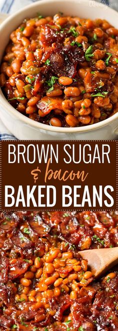 Brown Sugar and Bacon Bacon Beans   These baked beans are semi-homemade and the perfect blend of sweet, savory and smoky! Topped with delicious bacon, they're sure to be a hit!   http://thechunkychef.com