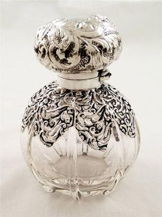 glass and silver overlay scent bottle chester 1900