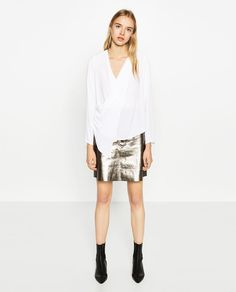 Image 1 of DRAPED CROSSOVER BLOUSE from Zara
