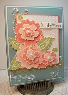 handmade birthday card ... luv the coral colors of the layered  flowers ... like the whole design of the this card ... Stampin' Up!