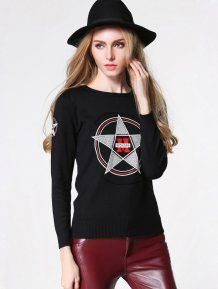 Black Fashion Slim Pullovers Woman Sweater