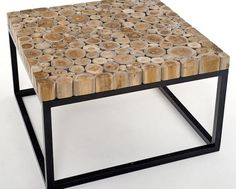 Natural Wood Furniture   Coffee Table   Lakeside Collection Design 1 With  Metal BaseA Tahini,
