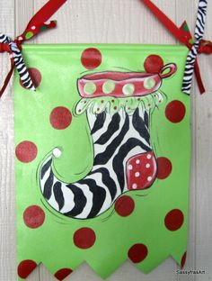 Christmas Door Sign Zebra Print Stocking. $39.99, via Etsy.