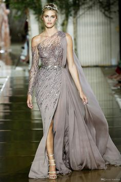 Luxury Zuhair Murad New Evening Dresses 2018 One Shoulder with Beads Crystal High Split Side Celebrity Pageant Gowns Custom Made Zuhair Murad Haute Couture, Style Couture, Haute Couture Dresses, Couture Fashion, Chiffon Evening Dresses, Cheap Evening Dresses, Cheap Dresses, Elegant Dresses, Evening Gowns