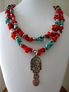 Inka style coral and magnesite necklace