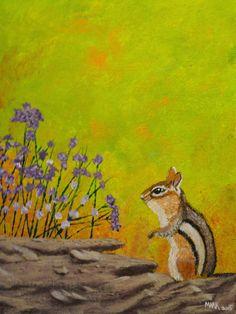 Chipmunk 9x12 canvas