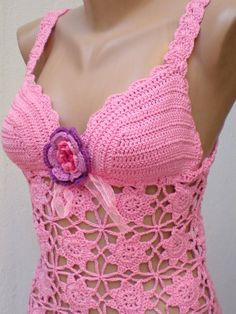 Cotton Crochet Hand Crocheted Top Tank Halter by crochetbutterfly ... this girl is so talented