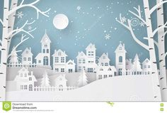 Snow Urban Countryside Village with Full Moon New Stock Photo . Winter Snow Urban Countryside Village with Full Moon New Stock Photo . Winter Snow Urban Countryside Village with Full Moon New Stock Photo . Noel Christmas, Merry Christmas And Happy New Year, Christmas Paper, Christmas Crafts, Christmas Mantles, Christmas Night, Christmas Bags, Silver Christmas, Victorian Christmas