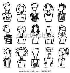 A set of doodle office avatars