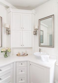 Custom Master Bathroom With Double Corner Vanity Tower