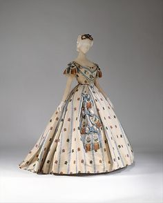 ball gown ca. via The Costume Institute of The Museum of Art Civil war era fashion Vintage Gowns, Mode Vintage, Vintage Outfits, Antique Clothing, Historical Clothing, Victorian Ball Gowns, Victorian Dresses, Victorian Era, Victorian Fashion