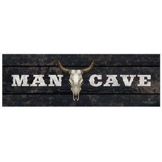 Man Cave - Bull by Eazl Cling, Size: 20 x 60, Multicolor