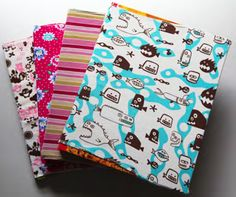 super easy book covers made from knit fabric or old t-shirts ~~~~~~~~~~~~~~~~~~~~~~~~~~~~~~ This would be a great craft to share with students (or parents of younger students), or Fashion Studies teachers in September.