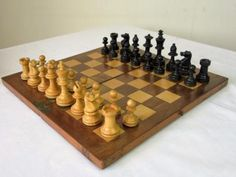 #Antique  small english #weighted chess set + folding mahogany  #board,  View more on the LINK: http://www.zeppy.io/product/gb/2/152138437457/