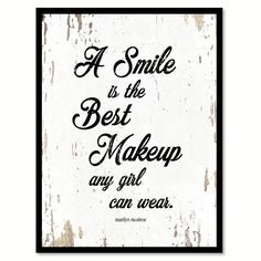 A Smile Is The Best Makeup Marilyn Monroe Inspirational Quote Saying Gift Ideas Home Decor Wall Art