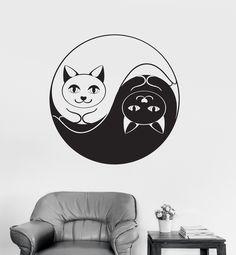 Vinyl Wall Decal Yin Yang Funny Cat Dao Taoism Zen Bedroom Decor Stickers (032ig)