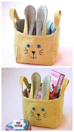 Sewing Patterns Free, Free Sewing, Free Pattern, Pattern Sewing, Crochet Basket Tutorial, Knit Basket, Crochet Baskets, Crochet Plant Hanger, Easter Fabric