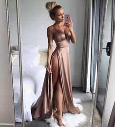 Sexy Spaghetti Strap Long Satin Prom Dress,High Slit Side Evening Dress,V Neck Prom Dresses
