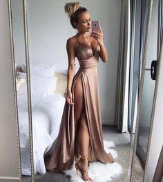 Sexy Spaghetti Strap Long Satin Prom Dress,High Slit Side Evening Dress,V Neck Prom Dresses